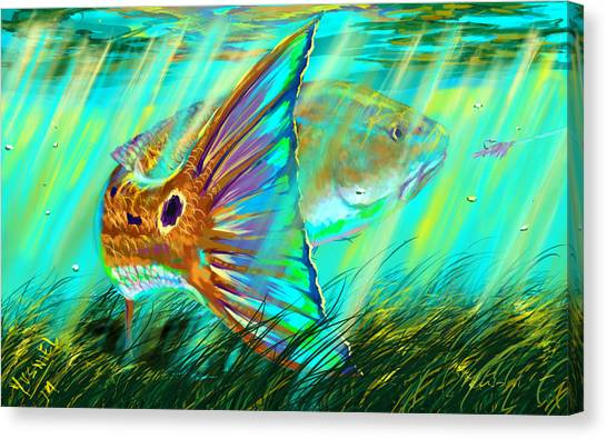 Spearfishing Canvas Print - Over The Grass  by Yusniel Santos