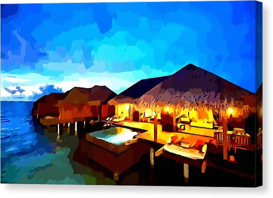 Over Water Bungalows Canvas Print