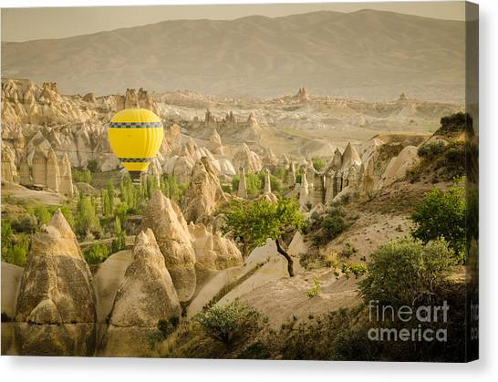 Balloon Over White Valley - Cappadocia Turkey Canvas Print by OUAP Photography