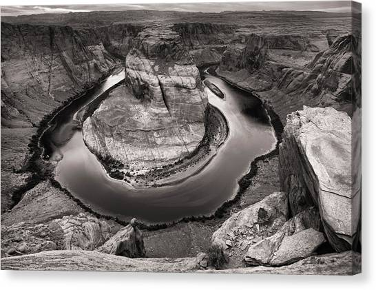 Canvas Print featuring the photograph Overcast At Horseshoe Bend by Brad Brizek