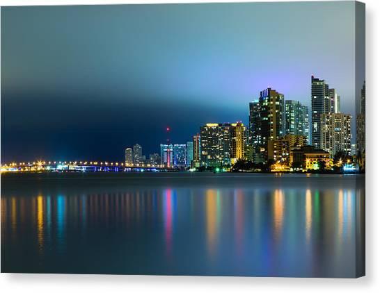 Overcast Miami Night Skyline Canvas Print