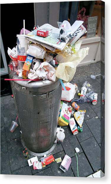 Rubbish Bin Canvas Print - Overflowing Litter Bin by Chris Martin-bahr/science Photo Library