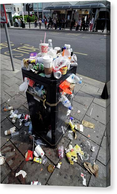 Rubbish Bin Canvas Print - Overflowing Litter Bin by Martin Bond/science Photo Library