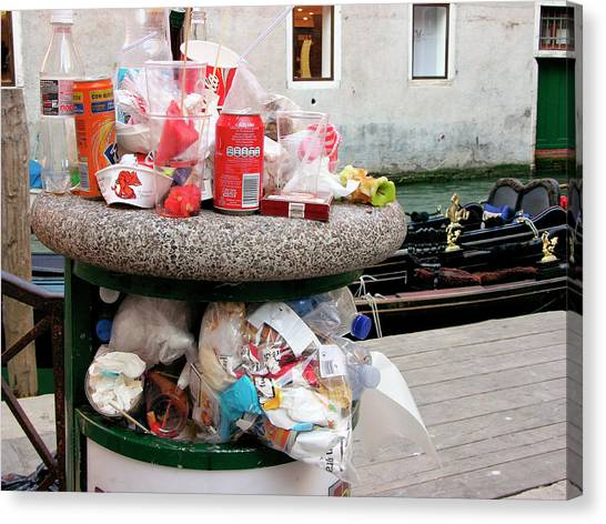Rubbish Bin Canvas Print - Overflowing Litter Bin by Tony Craddock/science Photo Library