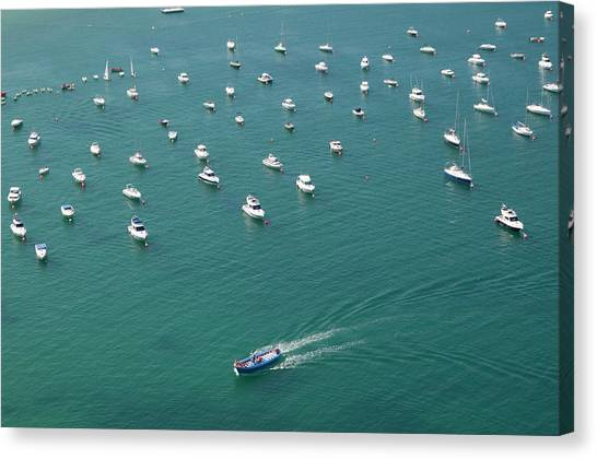 Overhead Of Boats In Port Canvas Print