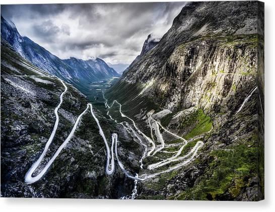 Overlook Of Trollstigen, Norway Canvas Print by Photo By Tse Hon Ning