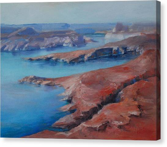 Overlooking Lake Powell Canvas Print by Donna Pierce-Clark