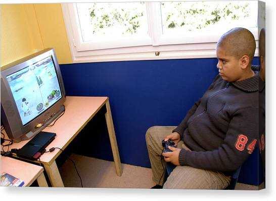 Playstation Canvas Print - Overweight Boy Playing A Computer Game by Aj Photo/hpr Bullion/science Photo Library