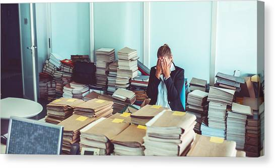 Overworked Office Worker, Bureaucracy, Archives Canvas Print by Matjaz Slanic