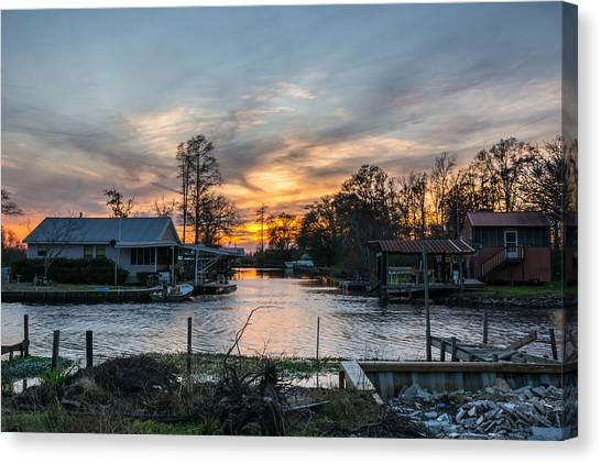 Bayous Canvas Print - Owl Bayou Sunset by Brad Monnerjahn