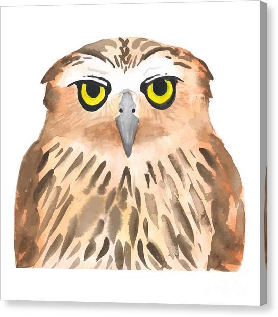 Powerful Canvas Print - Owl Bird. Watercolor, Vector by Evgeniy Agarkov