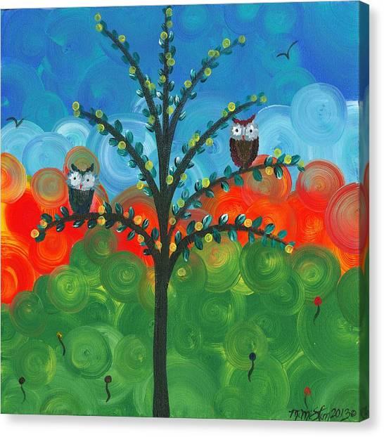 Owl Couples - 01 Canvas Print