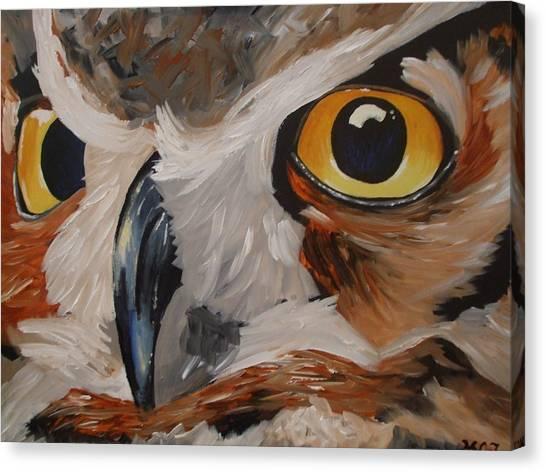 Stroke Canvas Print - Owl Face by Meagan Johnson