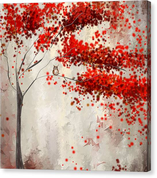 Maple Leaf Art Canvas Print - Owl In Autumn by Lourry Legarde