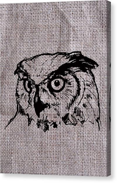Owl On Burlap Canvas Print