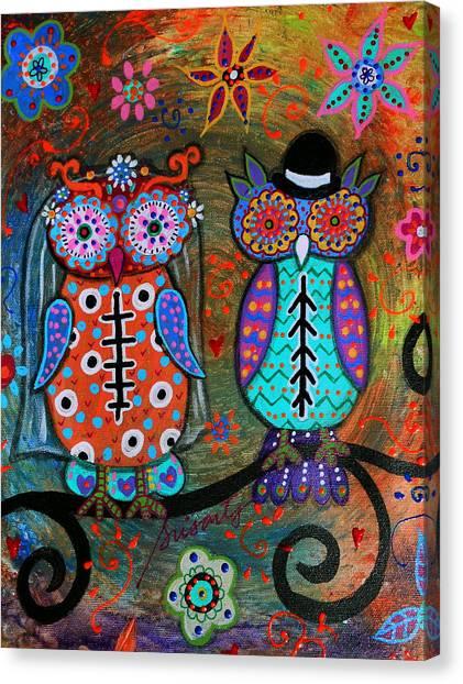 Owl Wedding Dia De Los Muertos Canvas Print