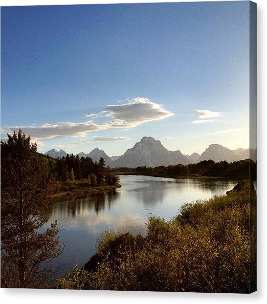 Tetons Canvas Print - Oxbow Bend Is The Sight Made Famous By by Mindful Adventure