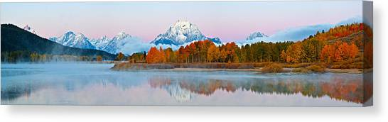 Teton Canvas Print - Oxbow Bend Panoramic by Guy Schmickle