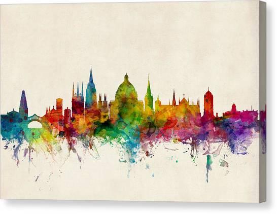 Watercolour Canvas Print - Oxford England Skyline by Michael Tompsett