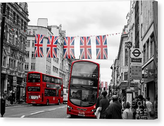 Oxford Street Flags Canvas Print