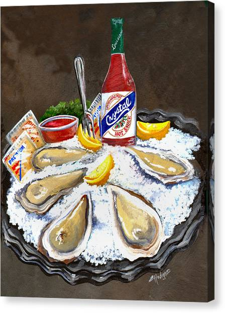 Hot Sauce Canvas Print - Oysters On Ice by Elaine Hodges