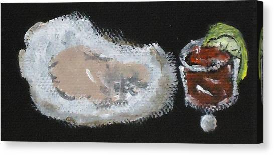 Oysters Yummy Canvas Print by Katie Spicuzza