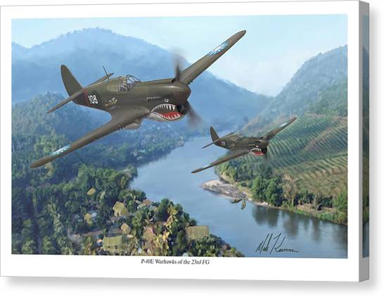 P-40 Warhawks Of The 23rd Fg Canvas Print by Mark Karvon