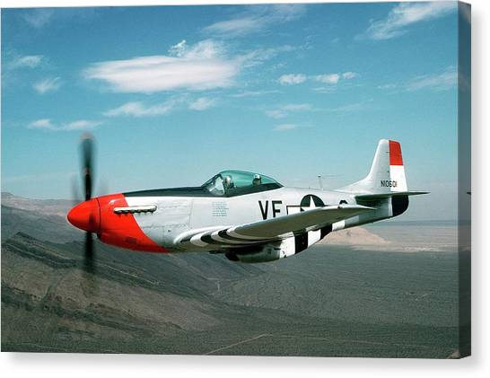 Eagle In Flight Canvas Print - P-51 Mustang In Flight by Us Air Force