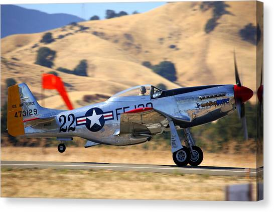 P51 Merlin's Magic On Take-off Roll Canvas Print
