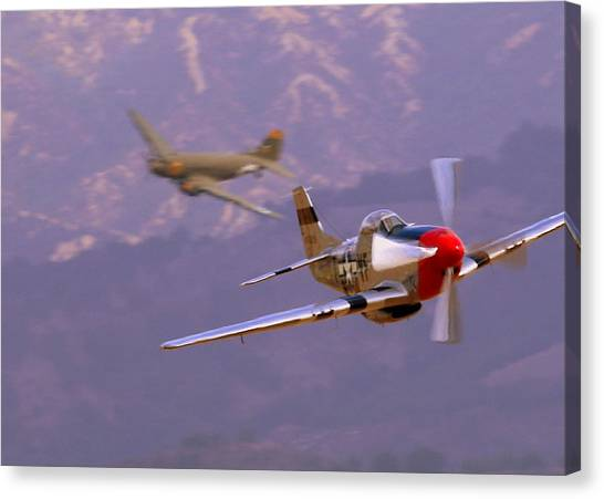C47 Skytrain With Her P51 Mustang Escort Canvas Print
