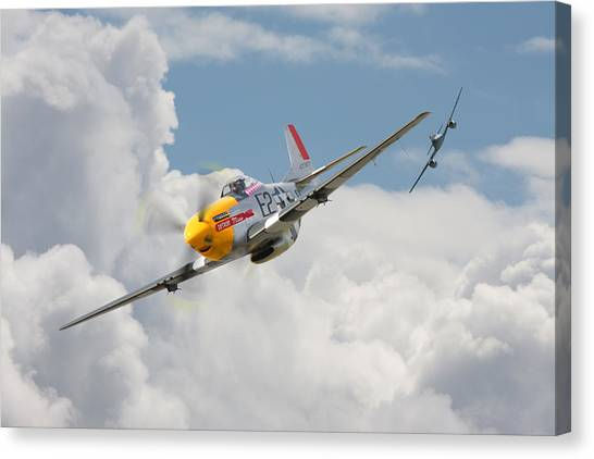 Luftwaffe Canvas Print - P51 Mustang And Me 262 by Pat Speirs