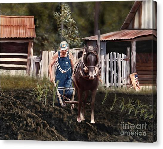 Pa Dee Plowing Canvas Print