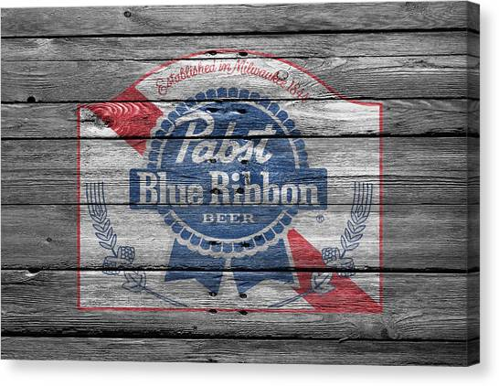Beer Can Canvas Print - Pabst Blue Ribbon Beer by Joe Hamilton