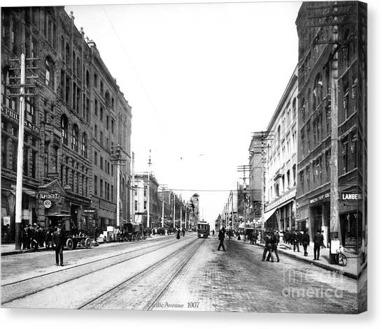 Canvas Print featuring the photograph Pacific Avenue Tacoma 1907 by Harney