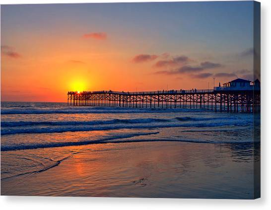 Big Sky Canvas Print - Pacific Beach Pier Sunset Ex Lrg by Peter Tellone