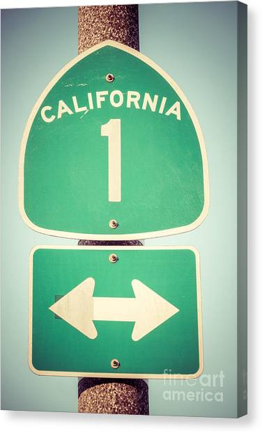 Street Signs Canvas Print - Pacific Coast Highway Sign California State Route 1  by Paul Velgos