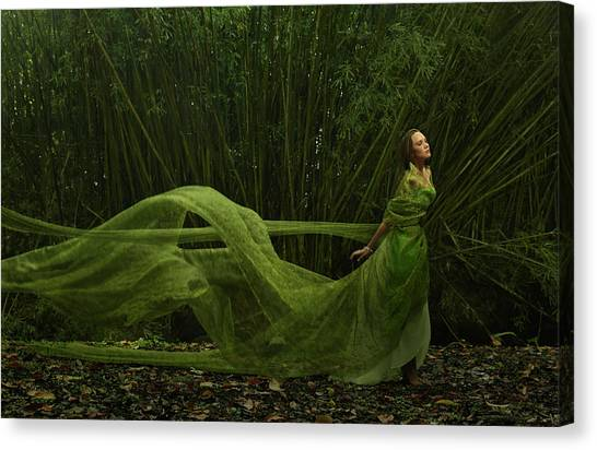 Pacific Islander Woman In Flowing Green Canvas Print
