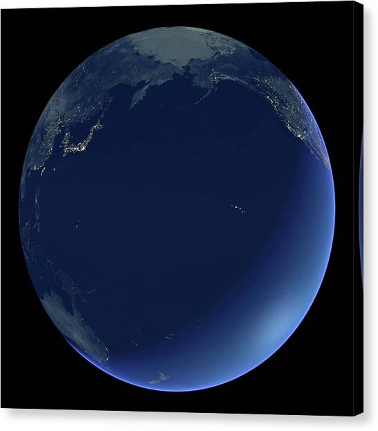 Pacific Ocean At Night Canvas Print by Planetary Visions Ltd/science Photo Library