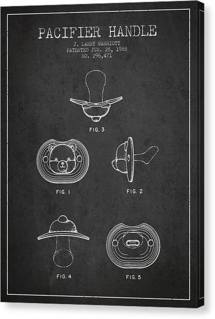 Dummies Canvas Print - Pacifier Handle Patent From 1988 - Charcoal by Aged Pixel