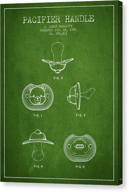 Dummies Canvas Print - Pacifier Handle Patent From 1988 - Green by Aged Pixel