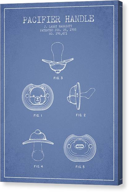 Dummies Canvas Print - Pacifier Handle Patent From 1988 - Light Blue by Aged Pixel