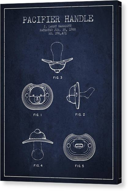 Dummies Canvas Print - Pacifier Handle Patent From 1988 - Navy Blue by Aged Pixel