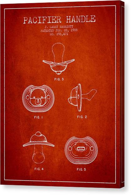 Dummies Canvas Print - Pacifier Handle Patent From 1988 - Red by Aged Pixel