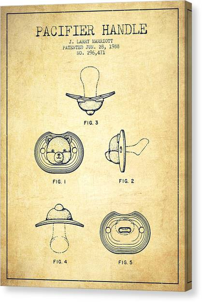 Dummies Canvas Print - Pacifier Handle Patent From 1988 - Vintage by Aged Pixel