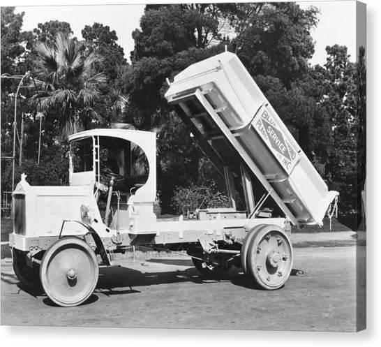 Dump Trucks Canvas Print - Packard Dump Truck by Underwood Archives