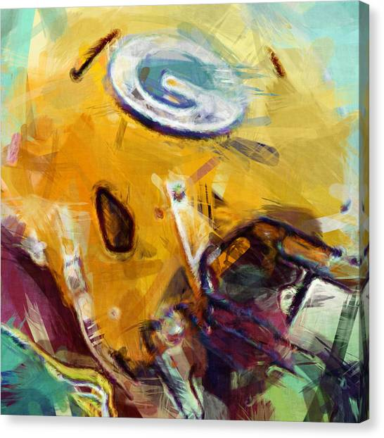 Gridiron Canvas Print - Packers Art Abstract by David G Paul