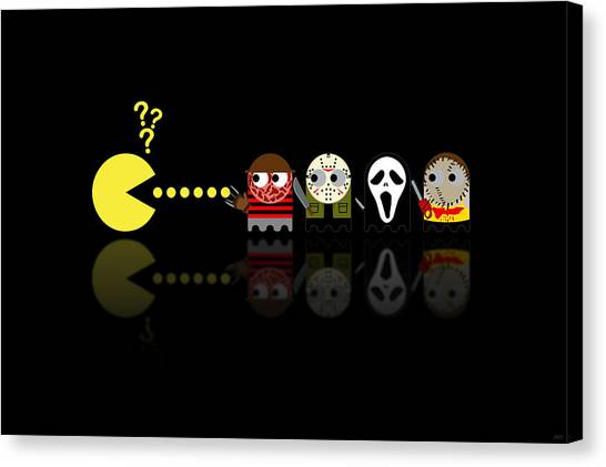 Chainsaw Canvas Print - Pacman Horror Movie Heroes by NicoWriter