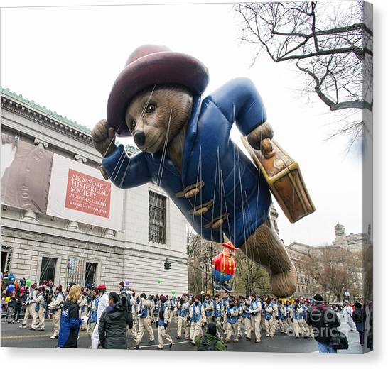 Macys Parade Canvas Print - Paddington Bear Balloon At Macy's Thanksgiving Day Parade by David Oppenheimer