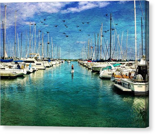 Paddle Boarder  In The Harbor Canvas Print