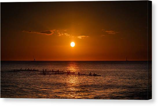 Paddle Into The Sunset In Hawaii Canvas Print